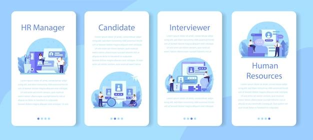 Conjunto de banners de aplicaciones móviles de recursos humanos.