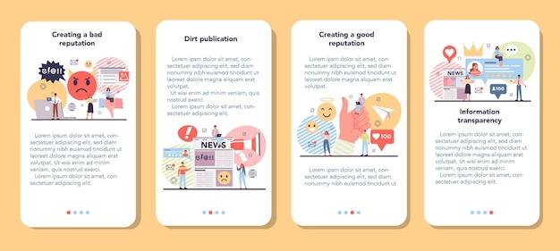 Conjunto de banners de aplicaciones móviles de reputación empresarial