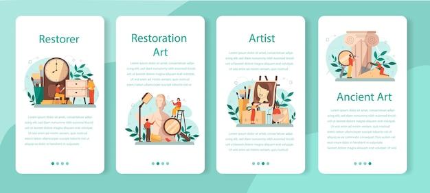 Conjunto de banners de aplicaciones móviles restaurador.