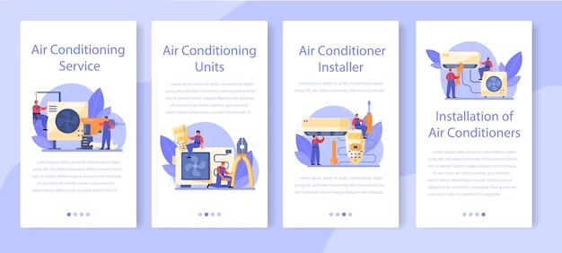 Conjunto de banners de aplicaciones móviles de servicio de instalación y reparación de aire acondicionado