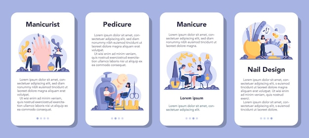 Conjunto de banners de aplicaciones móviles de servicio de manicura. trabajador de salón de belleza.