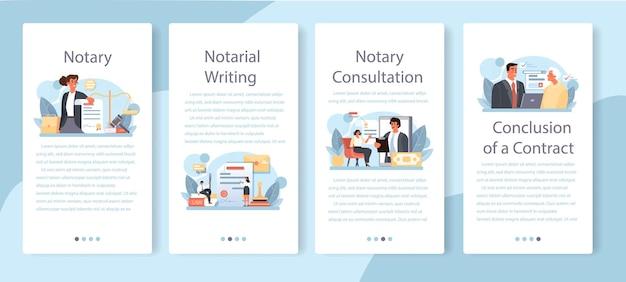 Conjunto de banners de aplicaciones móviles de servicio de notario