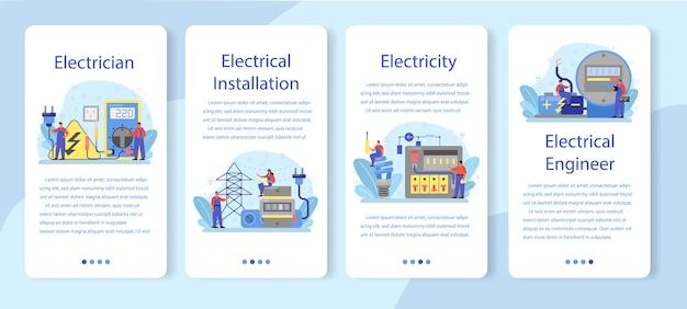 Conjunto de banners de aplicaciones móviles de servicio de obras de electricidad.