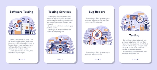 Conjunto de banners de aplicaciones móviles de software de prueba