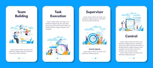 Conjunto de banners de aplicaciones móviles de supervisor gerente