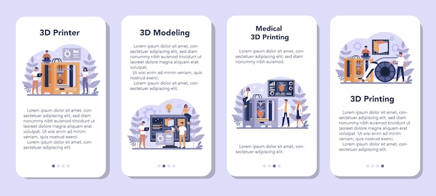 Conjunto de banners de aplicaciones móviles de tecnología de impresión 3d. equipo de impresora 3d e ingeniero. construcción y prototipos modernos. ilustración de vector aislado