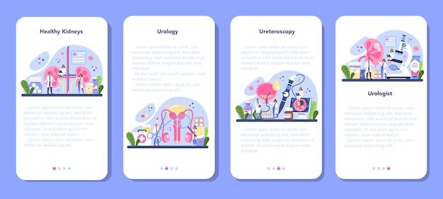 Conjunto de banners de aplicaciones móviles de urólogo.