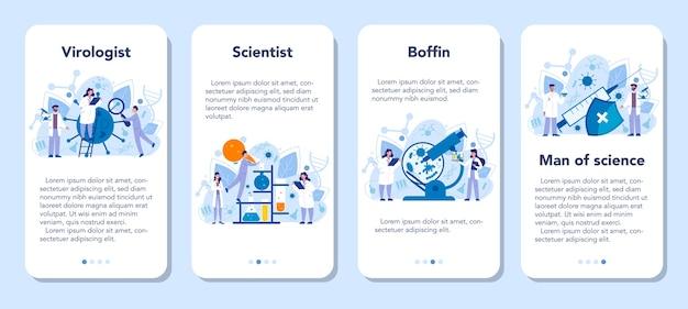 Conjunto de banners de aplicaciones móviles de virólogo