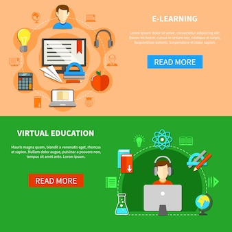 Conjunto de banners de aprendizaje e