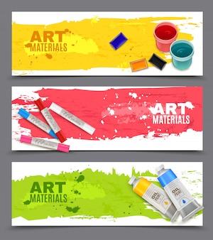 Conjunto de banners artísticos horizontales