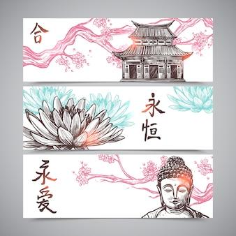 Conjunto de banners asiáticos