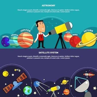 Conjunto de banners de astronomía