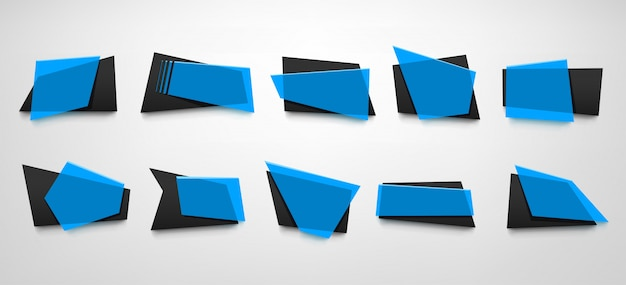 Conjunto de banners azules