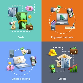 Conjunto de banners bancarios y de pago.