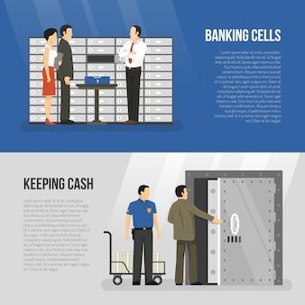Conjunto de banners de banco