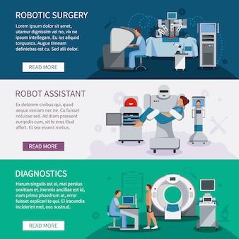 Conjunto de banners biónicos de herramientas de cirugía robótica y equipo de diagnóstico médico innovador plano vec