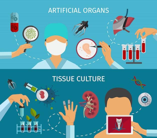 Conjunto de banners de biotecnología
