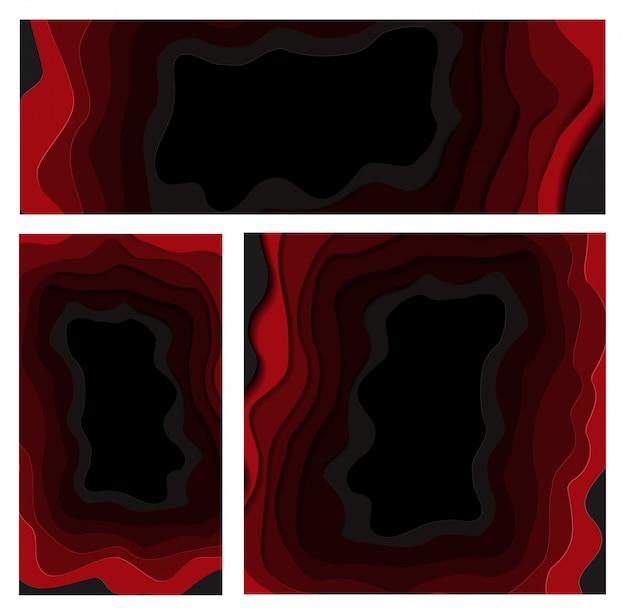 Conjunto de banners de black friday para tiendas y redes sociales en estilo de corte de papel