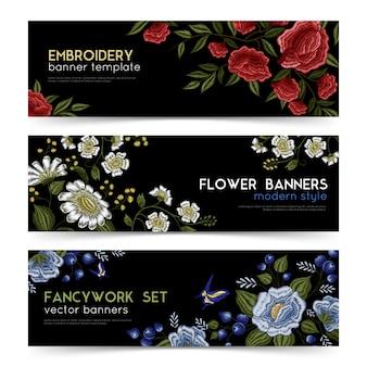 Conjunto de banners de bordado folk floral