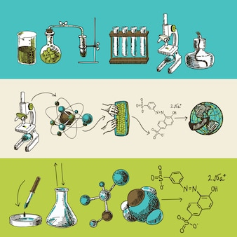 Conjunto de banners de bosquejo de investigación química