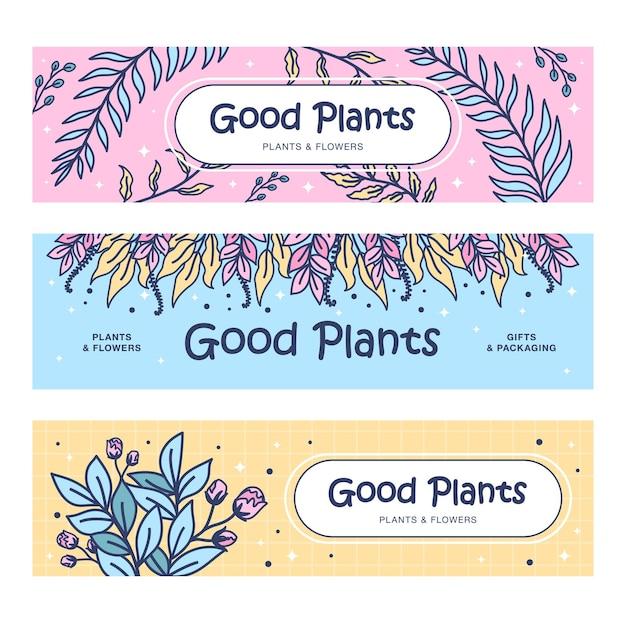 Conjunto de banners de buenas plantas.