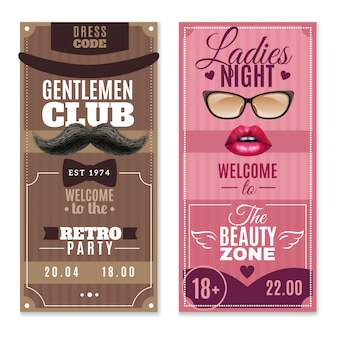 Conjunto de banners de caballeros damas eventos especiales.