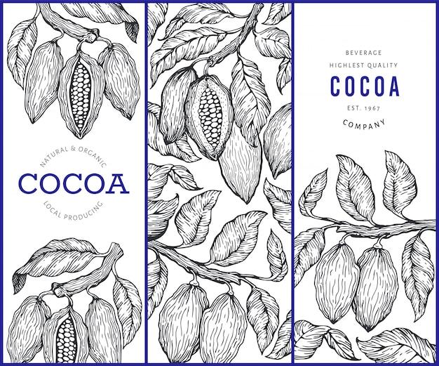 Conjunto de banners de cacao.