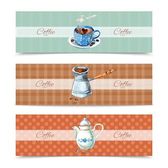 Conjunto de banners de café