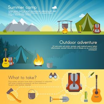 Conjunto de banners de camping