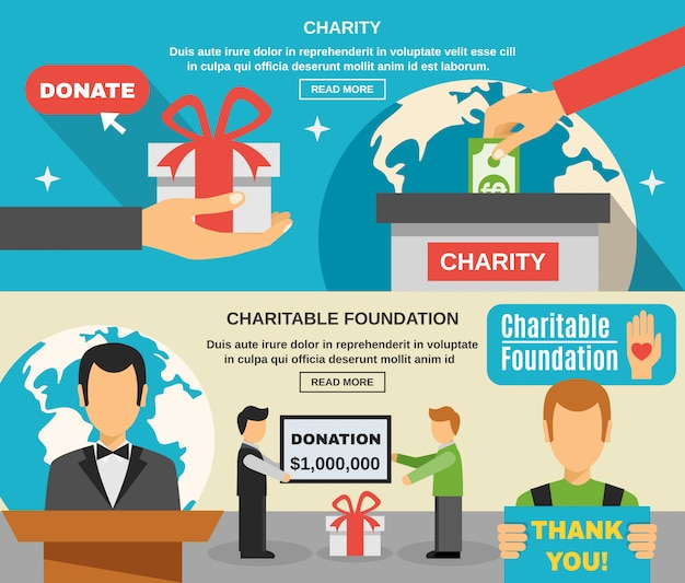 Conjunto de banners de caridad y donaciones