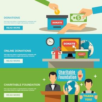 Conjunto de banners de caridad