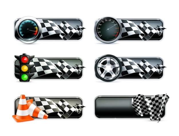 Conjunto de banners de carreras, carrera, motocross, iconos