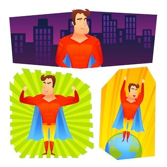Conjunto de banners de carteles de superhéroes.