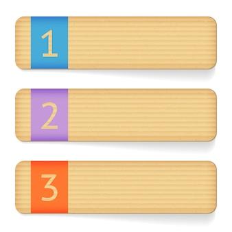 Conjunto de banners de cartón de papel. tarjeta de etiqueta de cartón, cartón rugoso. ilustración de vector de banderas de cartón de papel