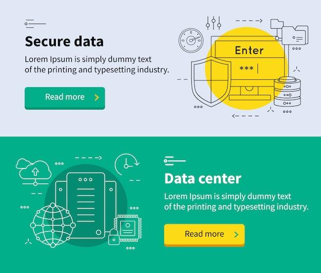 Conjunto de banners de centro de datos