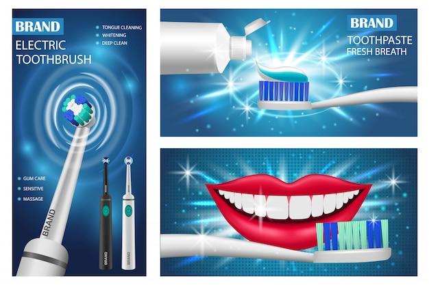 Conjunto de banners de cepillo de dientes