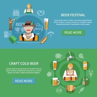 Conjunto de banners de cerveza plana