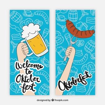 Conjunto de banners con cerveza y salchicha dibujado a mano