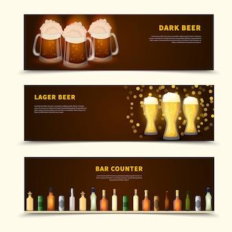 Conjunto de banners de cerveza