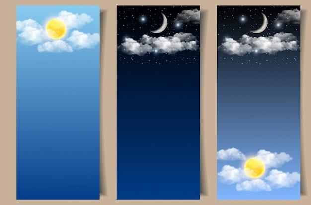 Conjunto de banners de cielo diurno y nocturno