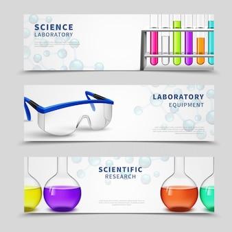 Conjunto de banners de ciencia de laboratorio