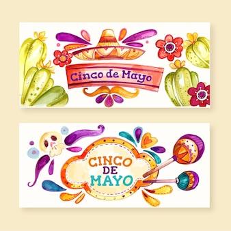 Conjunto de banners cinco de mayo acuarela pintados a mano