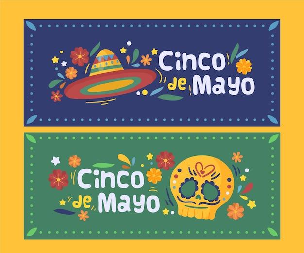 Conjunto de banners cinco de mayo dibujados a mano