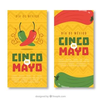 Conjunto de banners del cinco de mayo con elementos tradicionales mexicanos