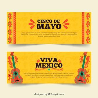 Conjunto de banners del cinco de mayo con elementos tradicionales