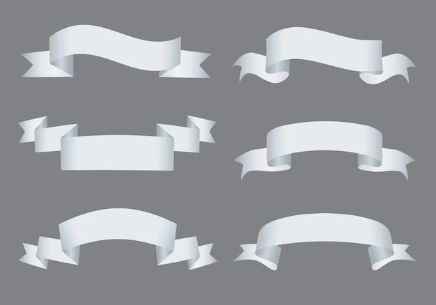 Conjunto de banners de cinta blanca