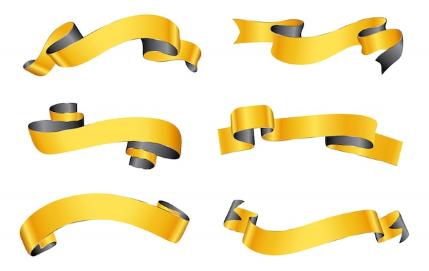 Conjunto de banners de cinta dorada