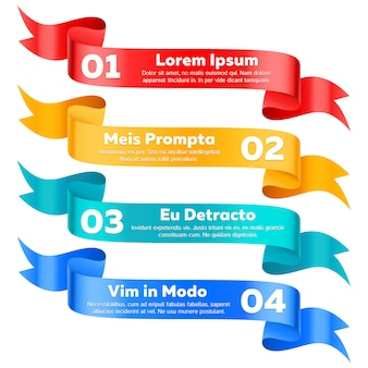 Conjunto de banners de cinta de opciones de información moderna
