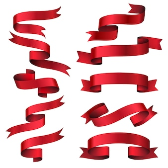 Conjunto de banners de cinta roja brillante. raya de objeto de colección, etiqueta clásica de marco, ilustración vectorial