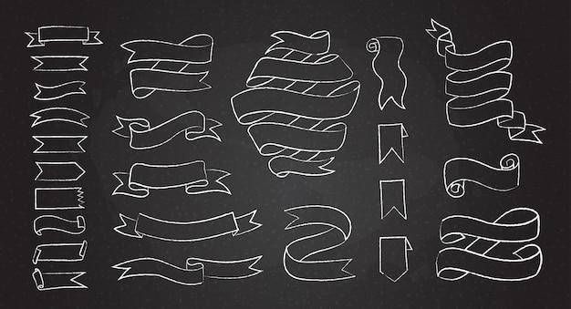 Conjunto de banners y cintas de dibujado a mano de línea de tiza